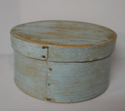 8: PAINTED PANTRY BOX. Round bentwood pantry box with l
