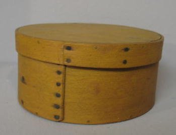 11: PAINTED PANTRY BOX. Round bentwood box with lapped