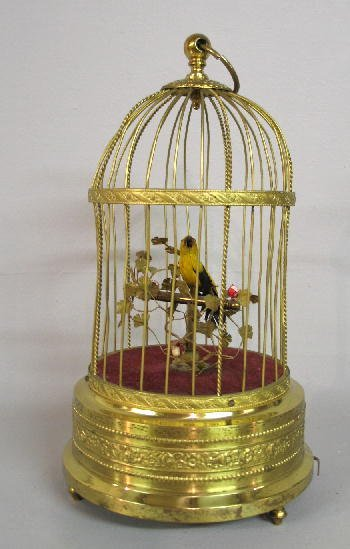 16: AUTOMATON. Animated singing bird with yellow and bl