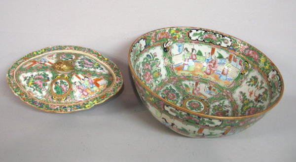 20: TWO PIECES OF ROSE MEDALLION. Large bowl and a diam