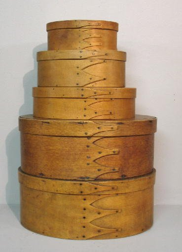 23: FIVE OVAL BENTWOOD BOXES. Probably Shaker. An assem
