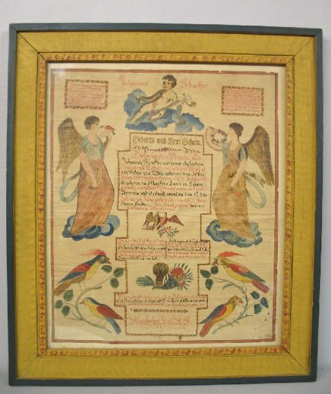 FRAKTUR. Hand drawn and painted birth and baptism c