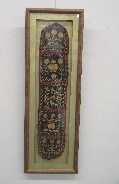 540: FRAMED SEWING POCKET. Dated 1828. Wool twill backg