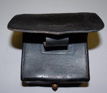 369: NAVAL CARTRIDGE BOX. Black leather is st