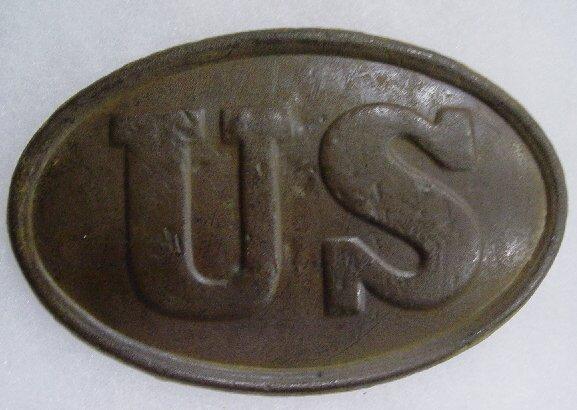 """375: """"U.S.""""OVAL CARTRIDGE BOX PLATE DUG AT MA"""