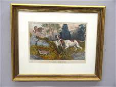 1 HANDCOLORED LITHOGRAPH BY CURRIER  IVES Two hunt