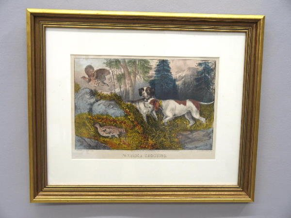 """1: HANDCOLORED LITHOGRAPH BY """"CURRIER & IVES"""". Two hunt"""