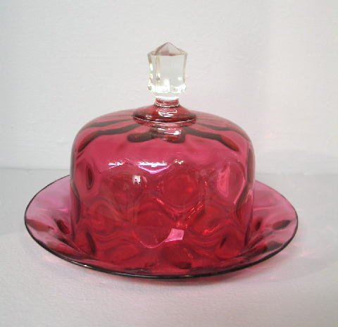 4: CRANBERRY GLASS COVERED DISH. Thumbprint with clear