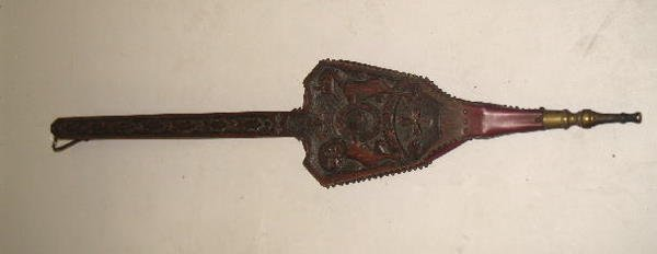 13: BELLOWS. Carved oak with the English coat of arms.