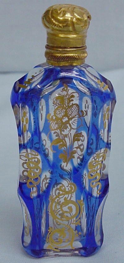 21: CUT OVERLAY SCENT BOTTLE. Cobalt cut to clear with