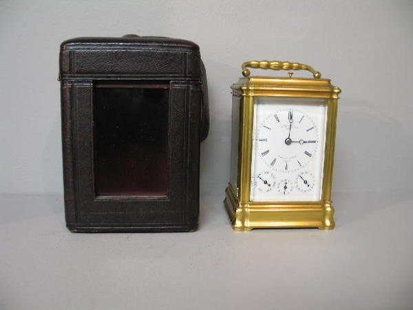 52: CARRIAGE CLOCK. French Grand Sonniere. Brass frame