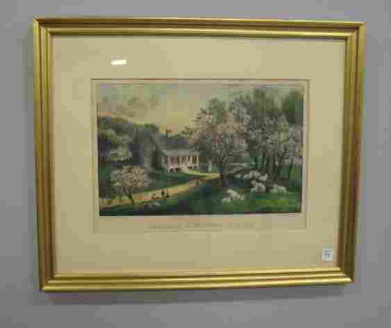 """98: HANDCOLORED LITHOGRAPH BY """"CURRIER & IVES"""". """"Americ"""