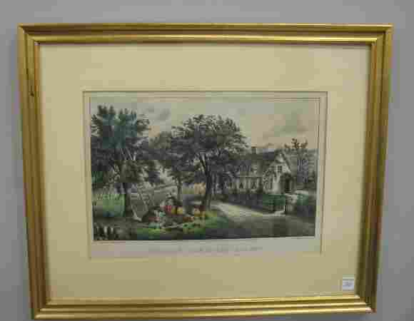 """100: HANDCOLORED LITHOGRAPH BY """"CURRIER & IVES"""". """"Ameri"""