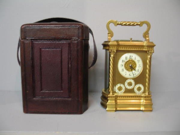 149: CARRIAGE CLOCK. Grand Sonnerie clock with a brass