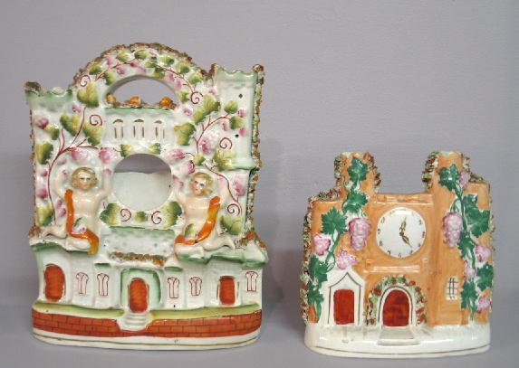 2002: TWO STAFFORDSHIRE CHIMNEY PIECES. Both are castle