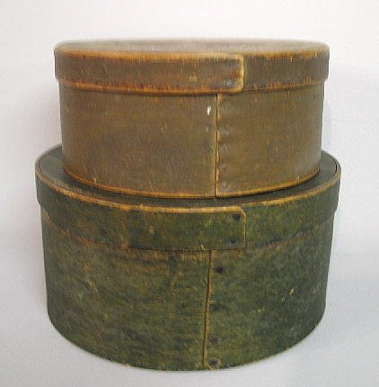 2003: TWO PAINTED PANTRY BOXES. Bentwood with lapped se