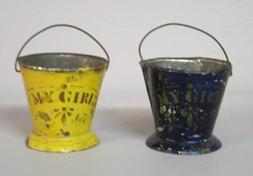 2009: TWO MINIATURE TOLE BUCKETS. Same form with origin