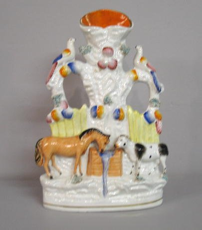 2011: STAFFORDSHIRE SPILL VASE. Barnyard diorama with a