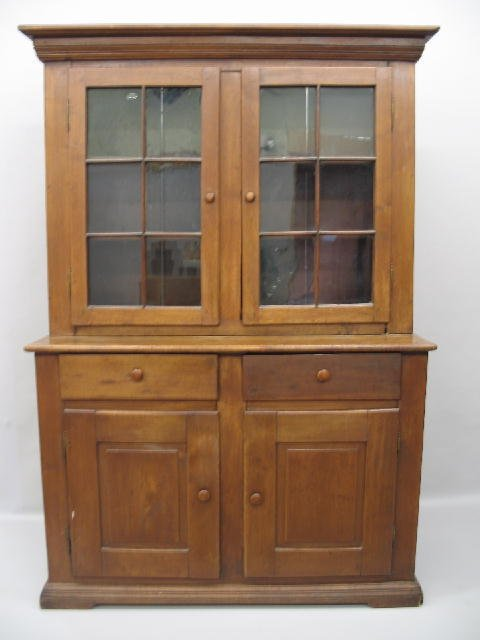 2012: ONE-PIECE STEPBACK CUPBOARD. Attributed to Ohio.