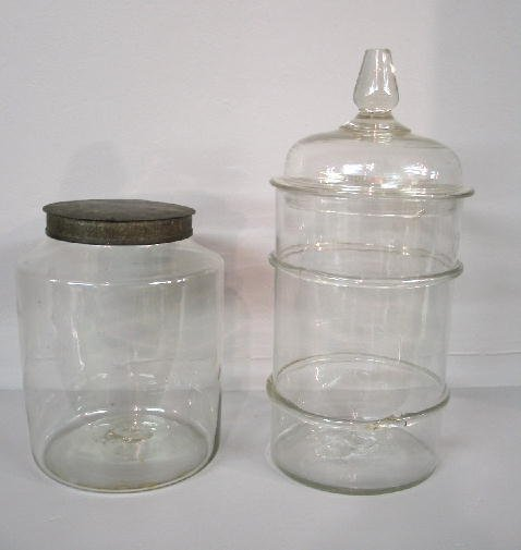 2014: TWO BLOWN GLASS CANISTERS. Pictured is one with a