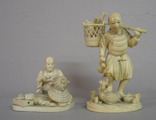 2019: TWO ORIENTAL IVORY CARVINGS. A fisherman wearing