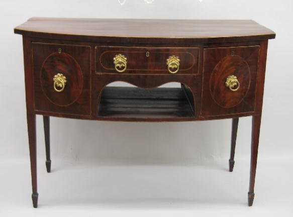2022: SMALL BOWFRONT INLAID HEPPLEWHITE SIDEBOARD. Prob