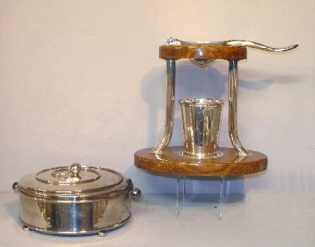 2023: TWO PIECES OF SILVER PLATE. Lemon squeezer with a