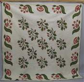 2091: FINE APPLIQUE QUILT. Acorn and Oak Leaf pattern e