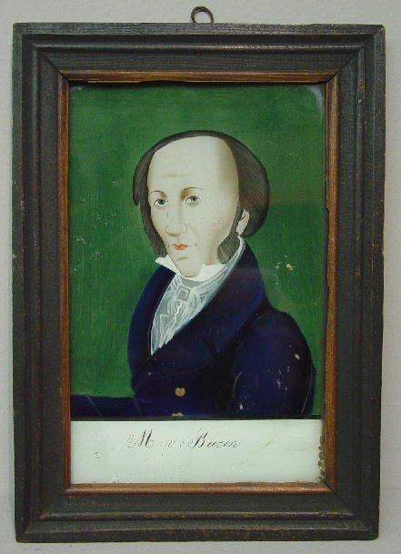 """1: REVERSE PAINTING ON GLASS. Portrait of """"M:v:Buren"""" ("""