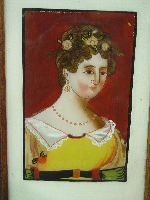 2: REVERSE PAINTING ON GLASS. Woman wearing a yellow dr - 2