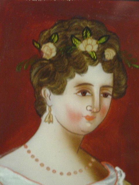 2: REVERSE PAINTING ON GLASS. Woman wearing a yellow dr - 3