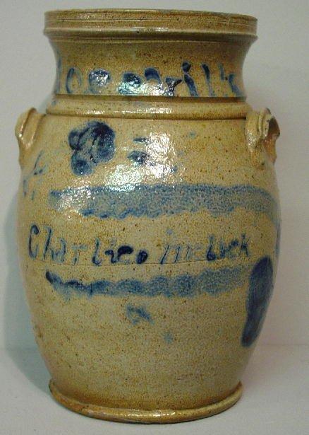 3: OHIO STONEWARE JAR. Brushed cobalt decoration of flo
