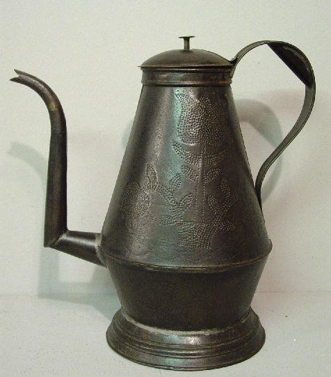 4: PENNSYLVANIA PUNCHED TIN COFFEE POT. Two pots of thr