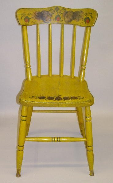 7: SMALL DECORATED SIDE CHAIR. Old mustard repaint with