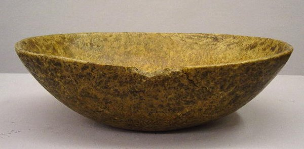 10: OVAL BURL BOWL. Ash with tight figure. Dry surface