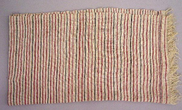 11: THREE TEXTILES. Pictured is a small hooked mat with - 5