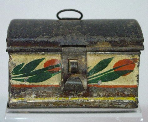 20: MINIATURE TOLE DOCUMENT BOX. Dome top with wire rin
