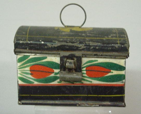 21: SMALL TOLE DOCUMENT BOX. Dome top with wire ring ha