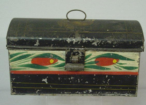 22: SMALL TOLE DOCUMENT BOX. Dome top with wire ring ha