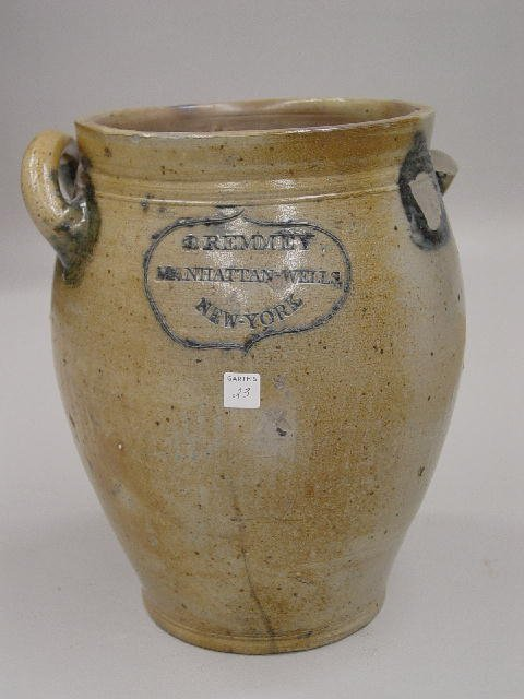 23: EARLY DECORATED & INCISED STONEWARE CROCK. Impresse