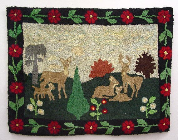 24: LARGE HOOKED RUG. Deer family with rolling hills an