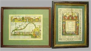 58A: TWO COLORED FRAMED PRINTS. From Pennsylvania, prin