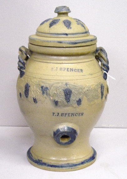 134: UNUSUAL STONEWARE COOLER WITH RELIEF MOLDED DECORA