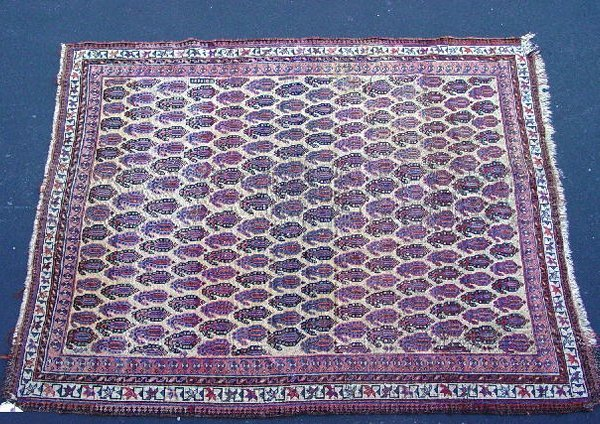 437: ORIENTAL RUG. Afshar. Ivory ground and border with