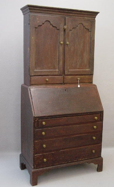 440: COUNTRY CHIPPENDALE TWO-PIECE SECRETARY. Butternut