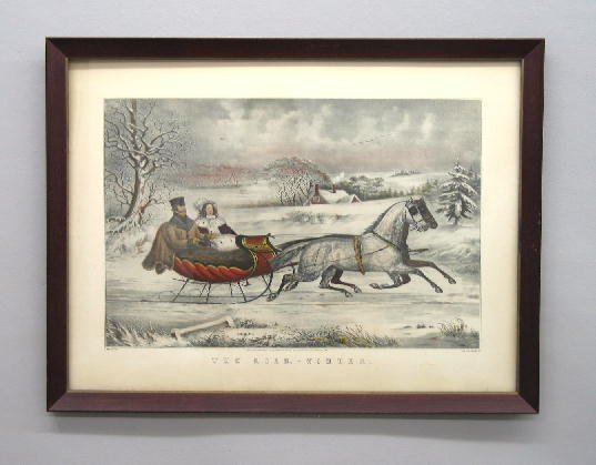 "401: HAND COLORED LITHOGRAPH BY ""N. CURRIER"". Large fol"