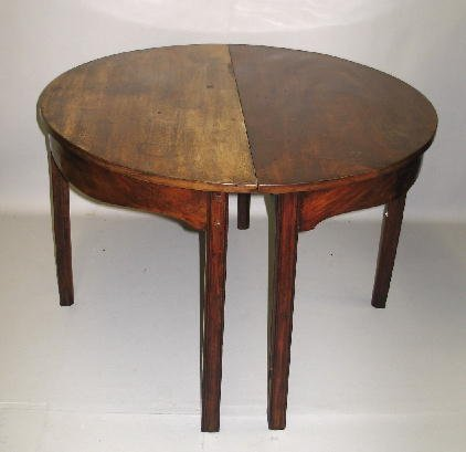 407: PAIR OF ENGLISH DEMILUNE BANQUET TABLES. Walnut, m