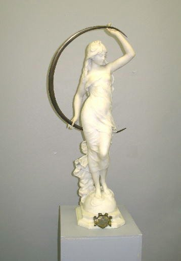 409: STATUE OF A WOMAN AFTER MOREAU. Full-length alabas