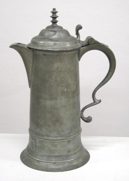 412: PEWTER FLAGON. Unmarked American, most likely by T