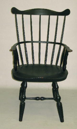 415: PAINTED HIGH-BACK WINDSOR ARMCHAIR. Serpentine cre